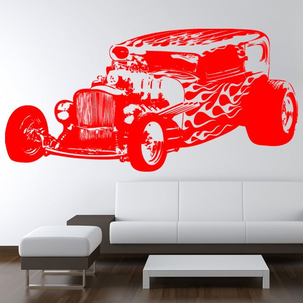 Wandtattoo Motiv Motor Hot Rod Fire