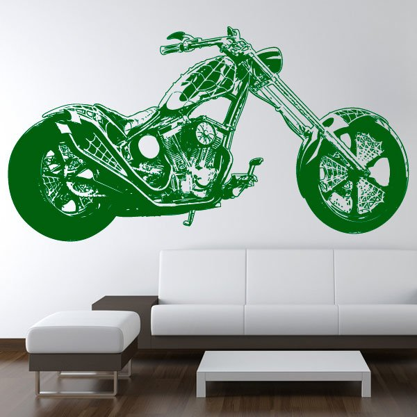 Wandtattoo Custom Chopper Spider Motorrad