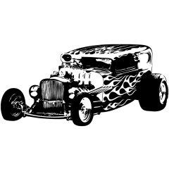 Wandtattoo Motiv Motor Hot Rod Fire