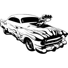 Wandtattoo Auto Chevy Shboom Blue Flames